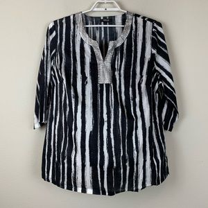 Style & Co 18W Black and White 3/4 Sleeve Blouse
